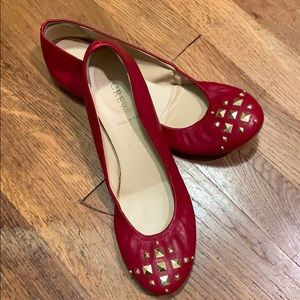 J. Crew Red Leather Flats Shoes